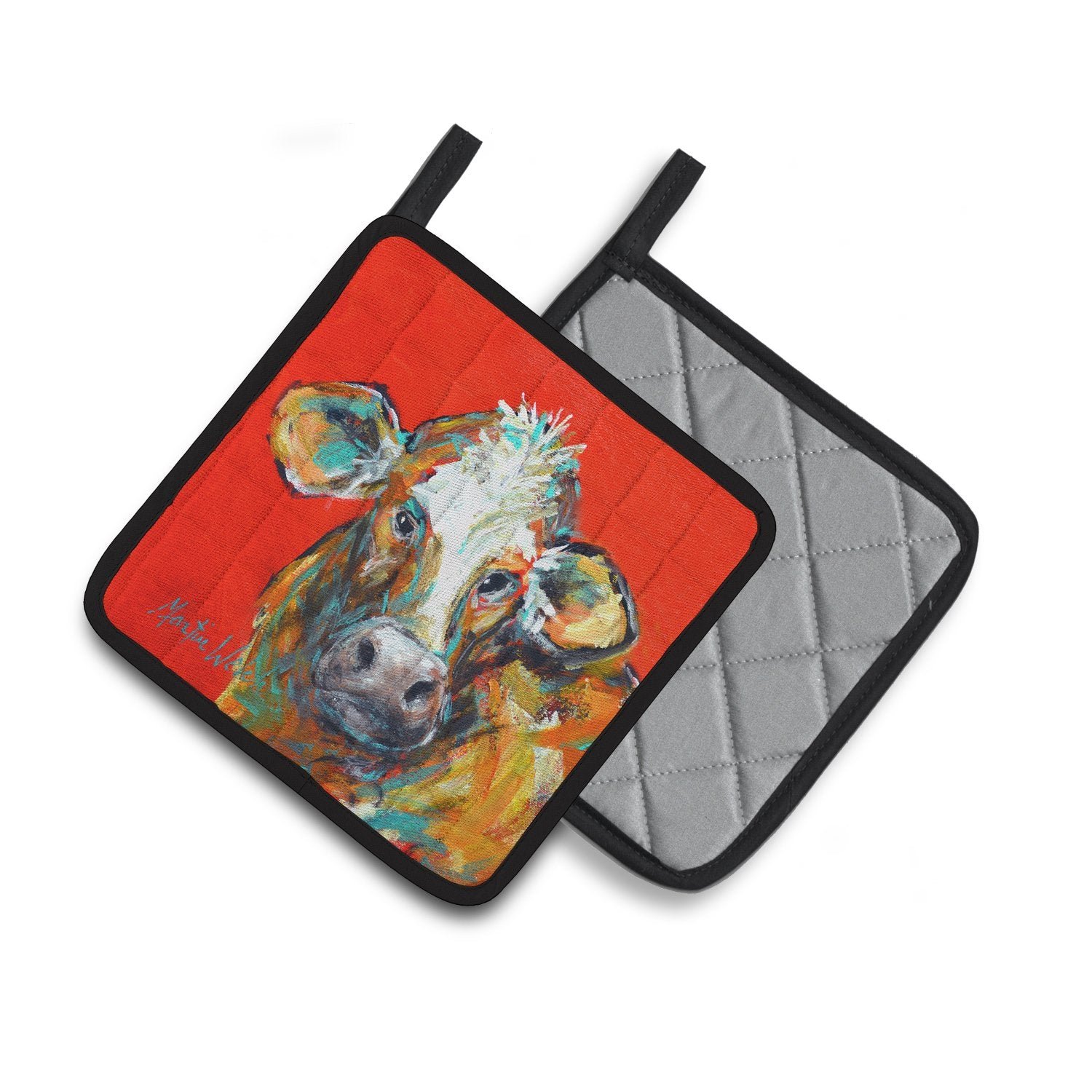Cow Caught Red Handed Too Pair of Pot Holders MW1319PTHD by Caroline's Treasures