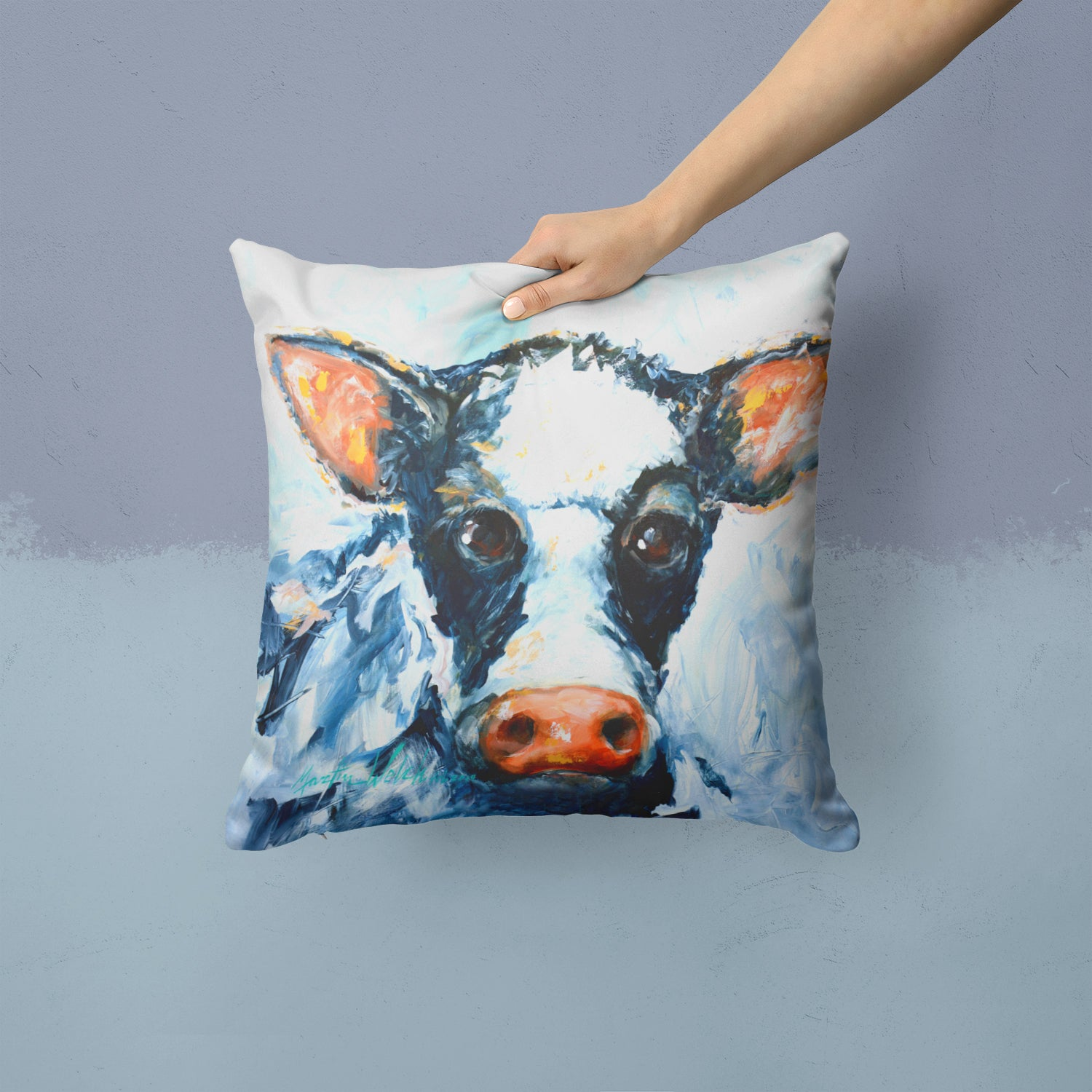 Cow Lick Fabric Decorative Pillow MW1320PW1414 by Caroline's Treasures