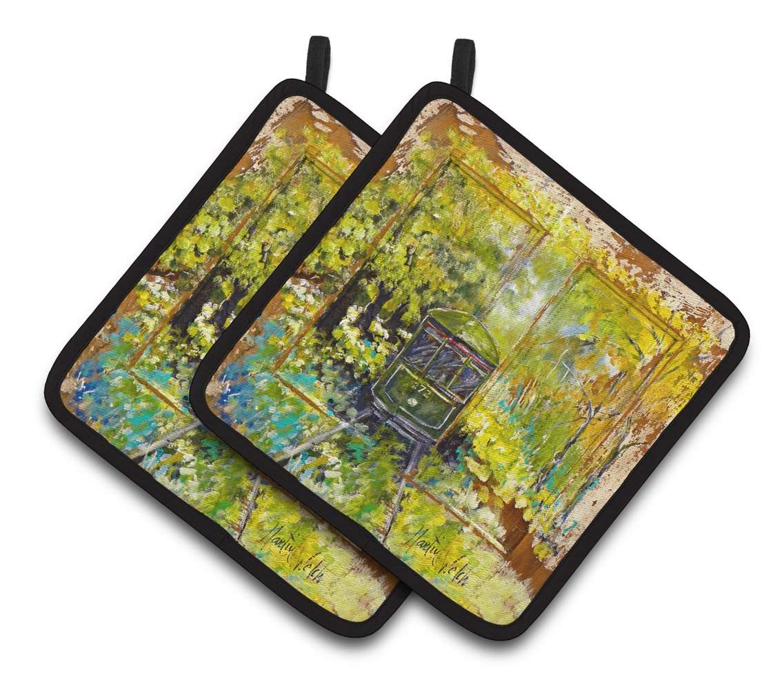 Streetcar End of the Line Pair of Pot Holders MW1326PTHD by Caroline's Treasures