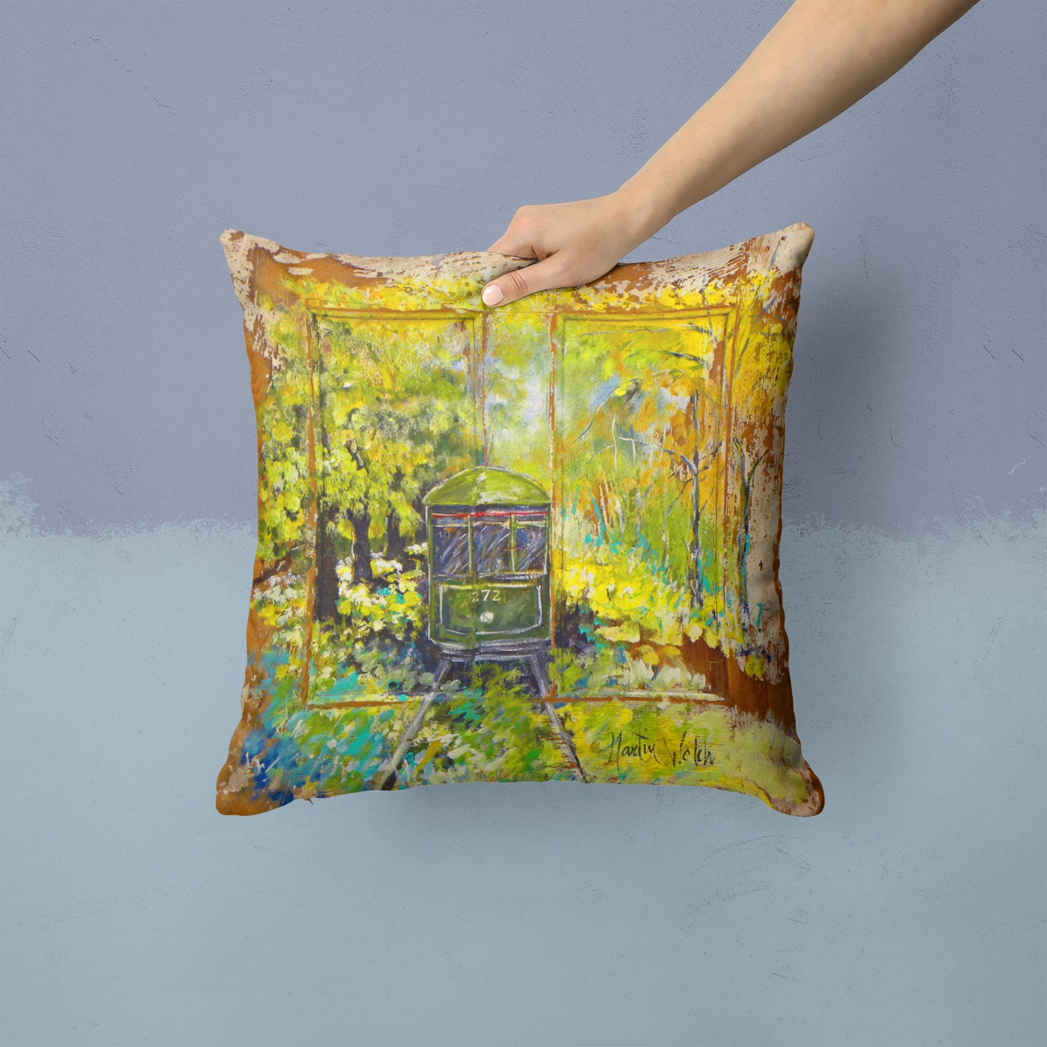 Streetcar End of the Line Fabric Decorative Pillow MW1326PW1414 by Caroline's Treasures