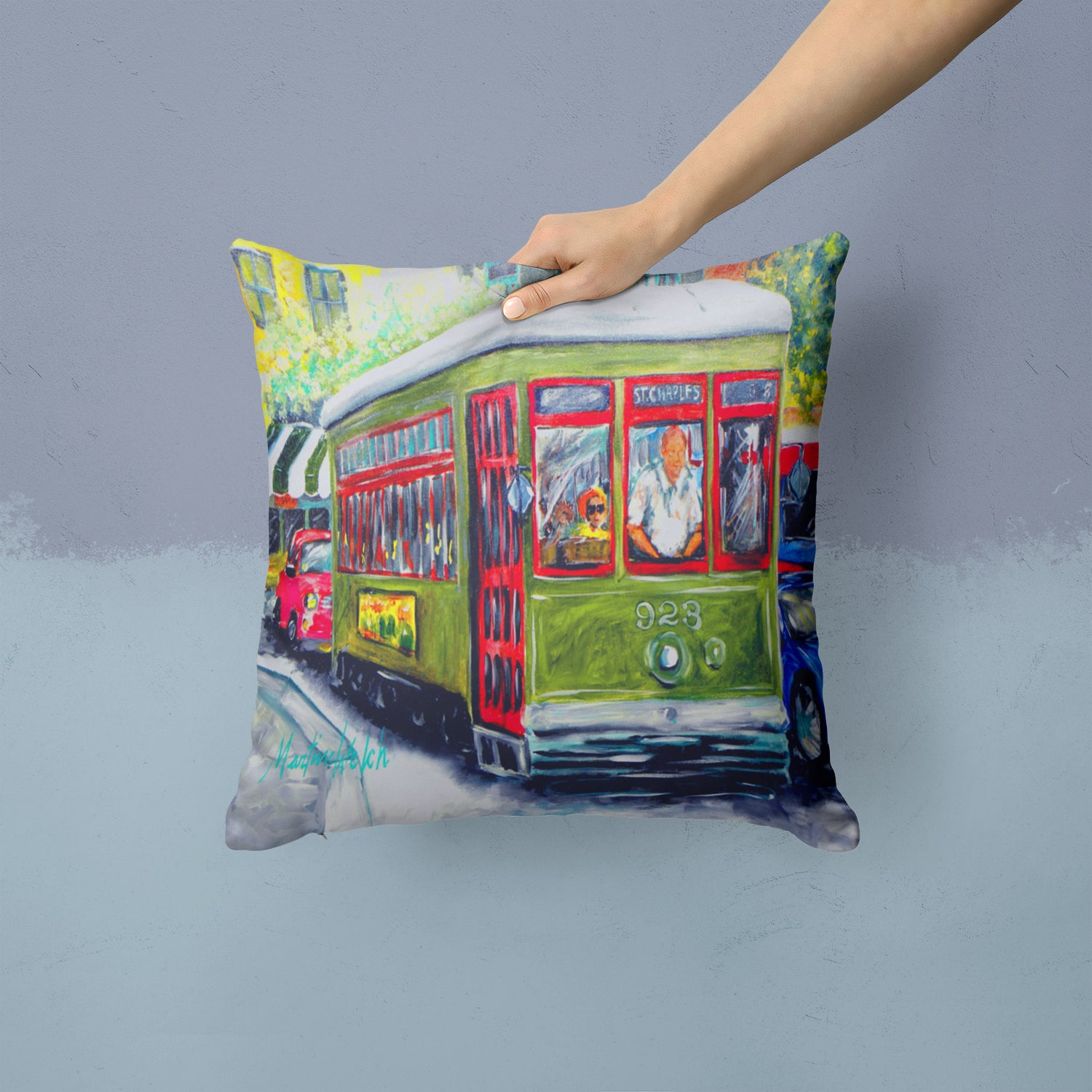 Streetcar Mid Summer Fabric Decorative Pillow MW1338PW1414 by Caroline's Treasures