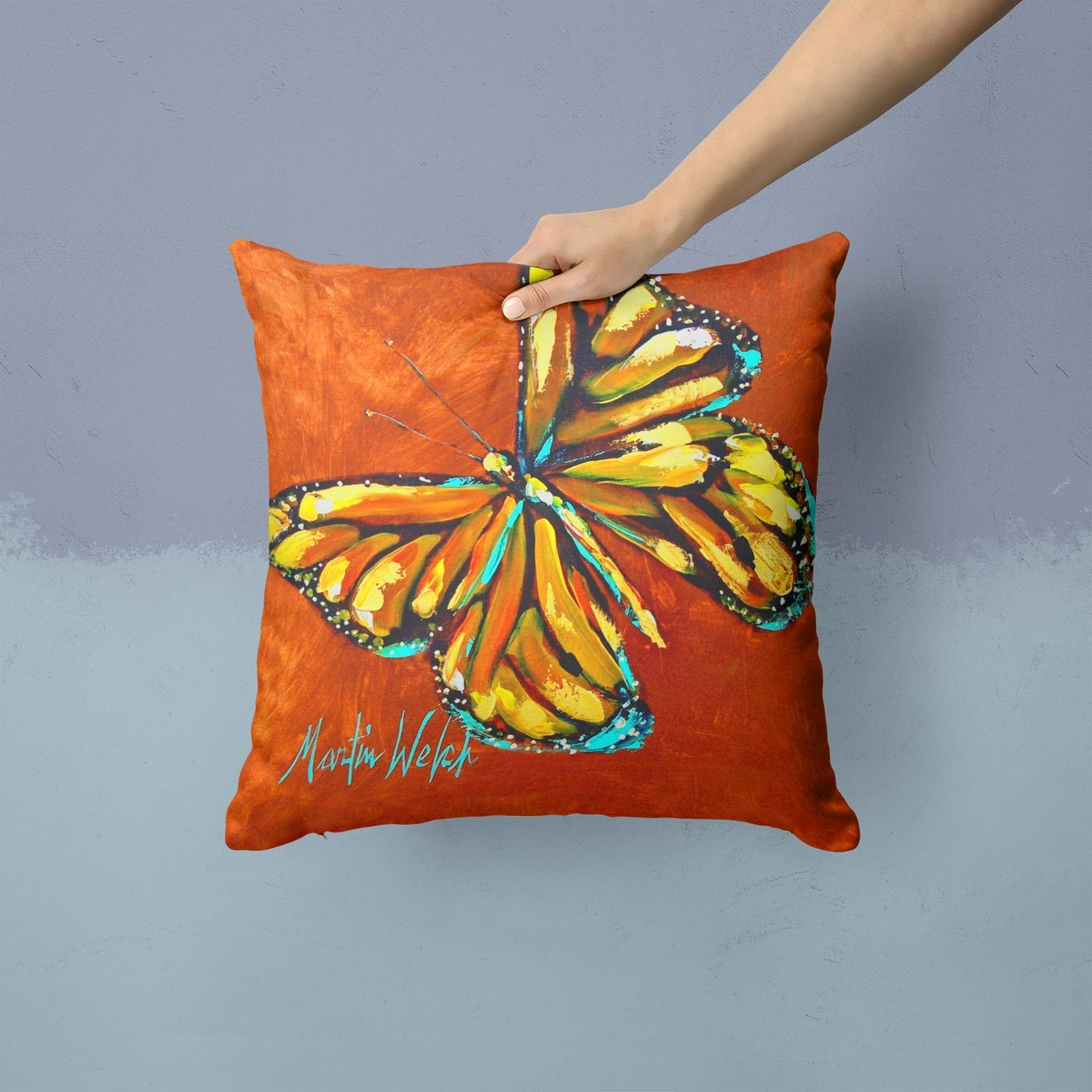 Monarch Butterfly Fabric Decorative Pillow MW1339PW1414 by Caroline's Treasures