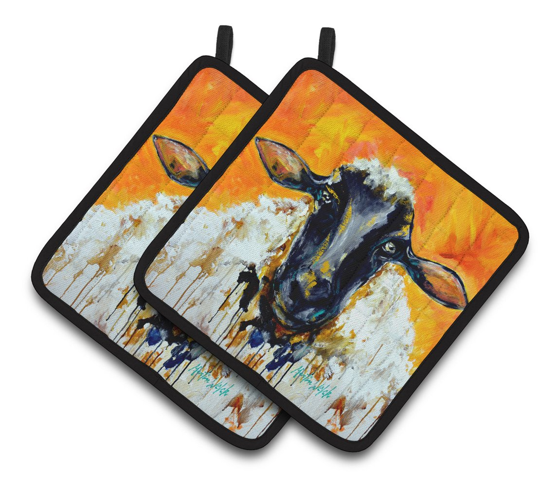 Buy this Peach Wool Sheep Pair of Pot Holders MW1343PTHD