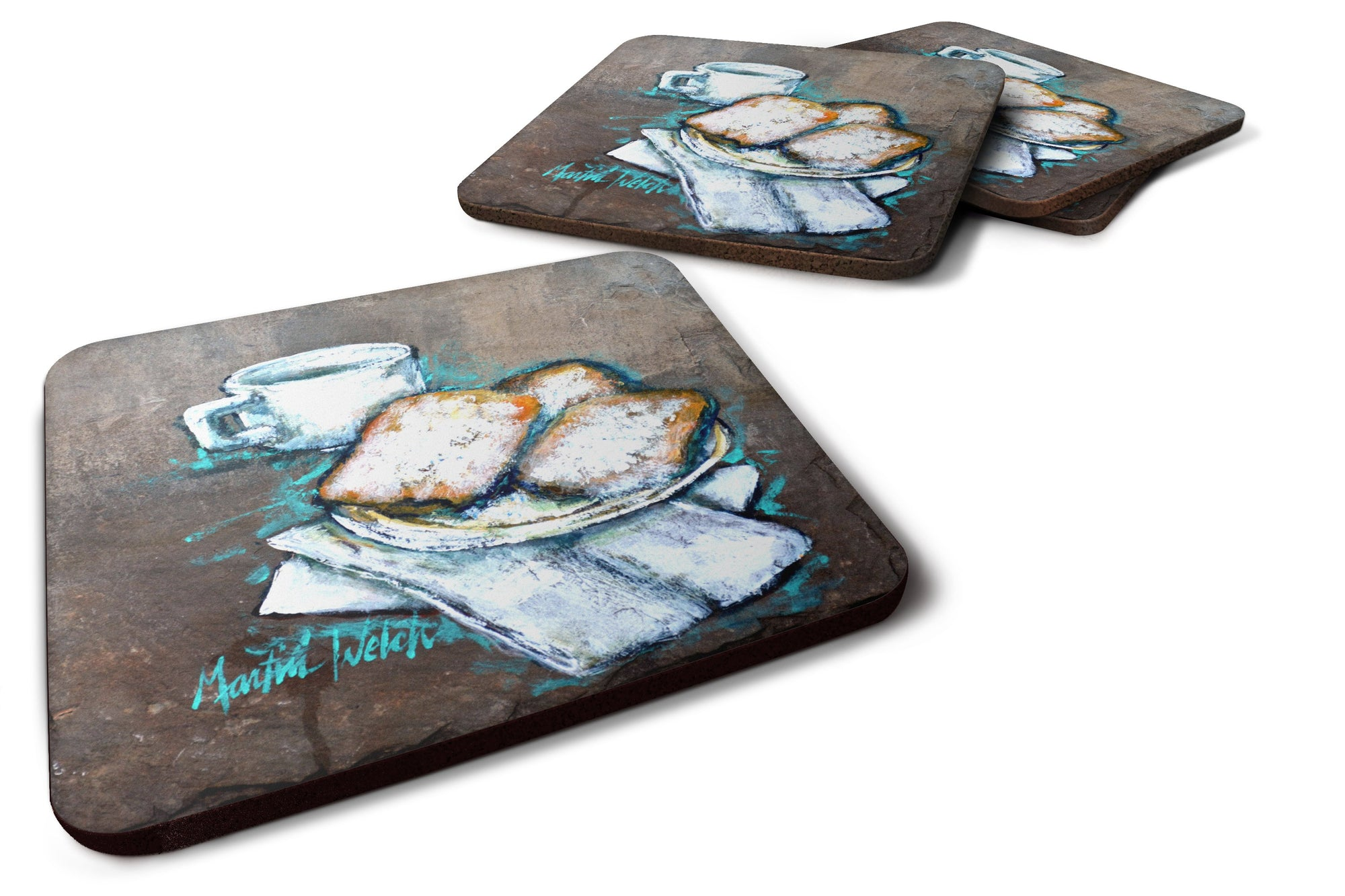 Buy this Set of 4 Beignets Piping Hot Foam Coasters Set of 4 MW1344FC