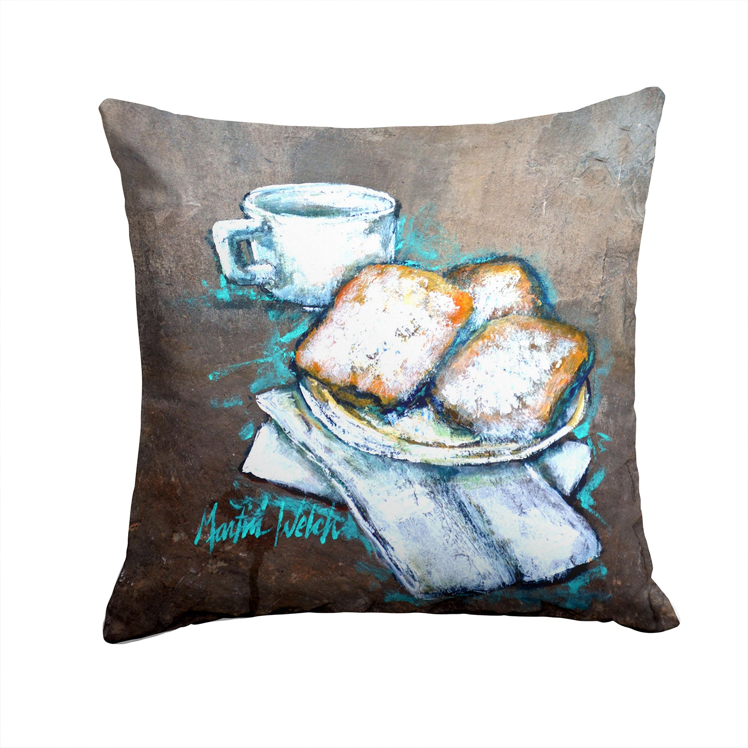 Beignets Piping Hot Fabric Decorative Pillow MW1344PW1414 by Caroline's Treasures