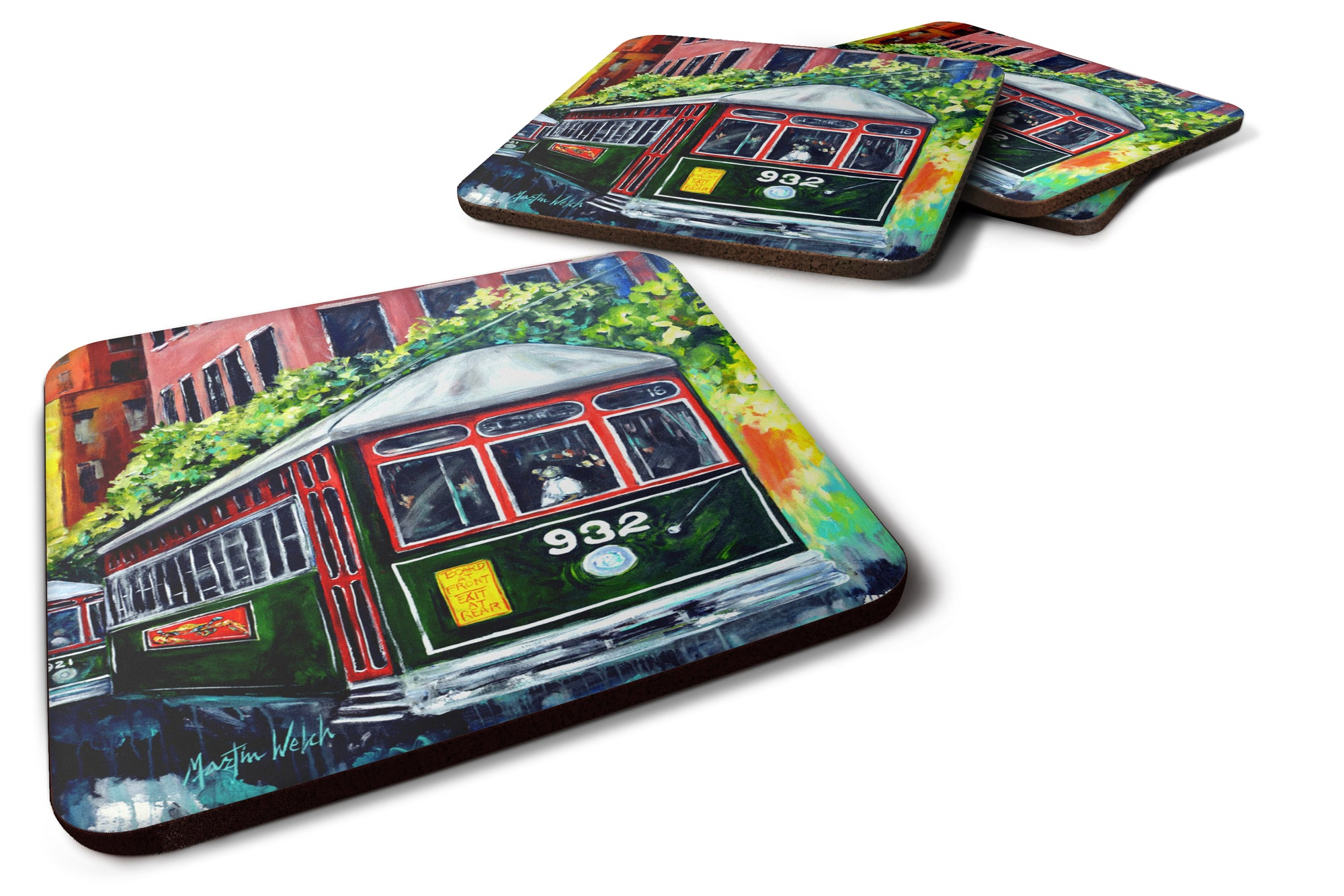 Streetcar St. Charles #2 Foam Coaster Set of 4 MW1351FC by Caroline's Treasures