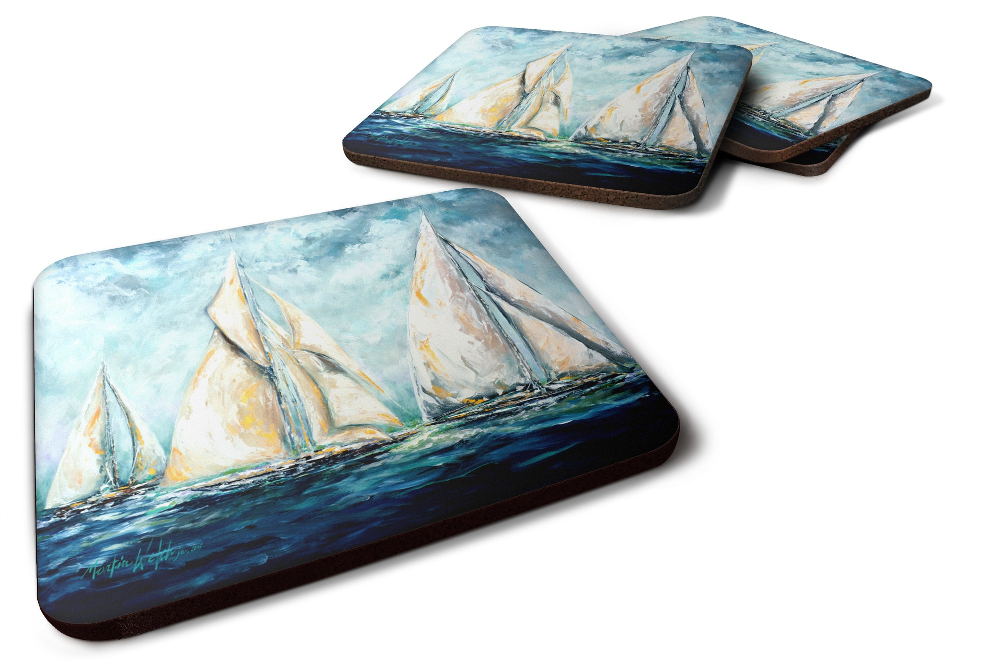 Buy this Sailboats Last Mile Foam Coaster Set of 4 MW1355FC