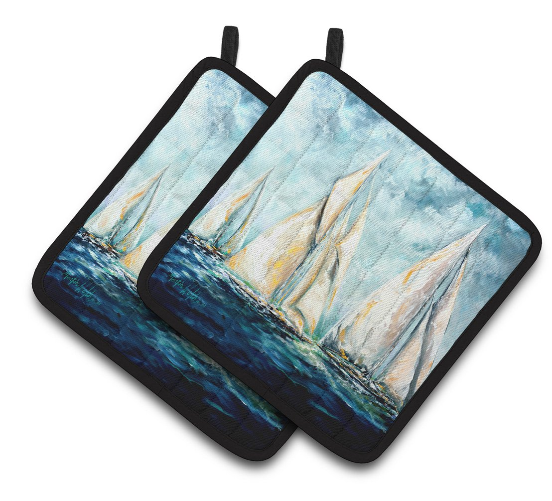 Sailboats Last Mile Pair of Pot Holders MW1355PTHD by Caroline's Treasures