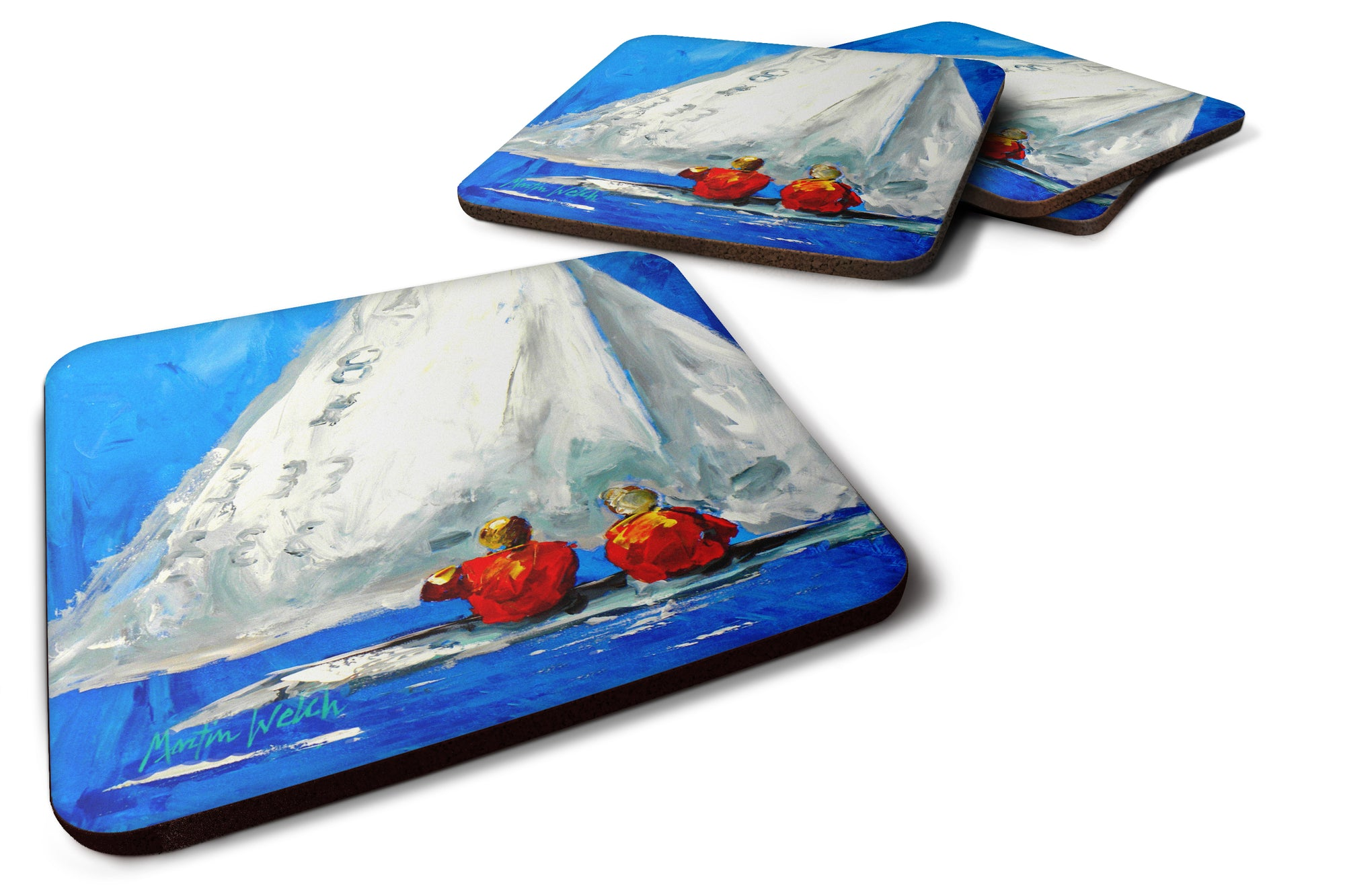 Buy this Sailboat Two's Company Foam Coaster Set of 4 MW1360FC