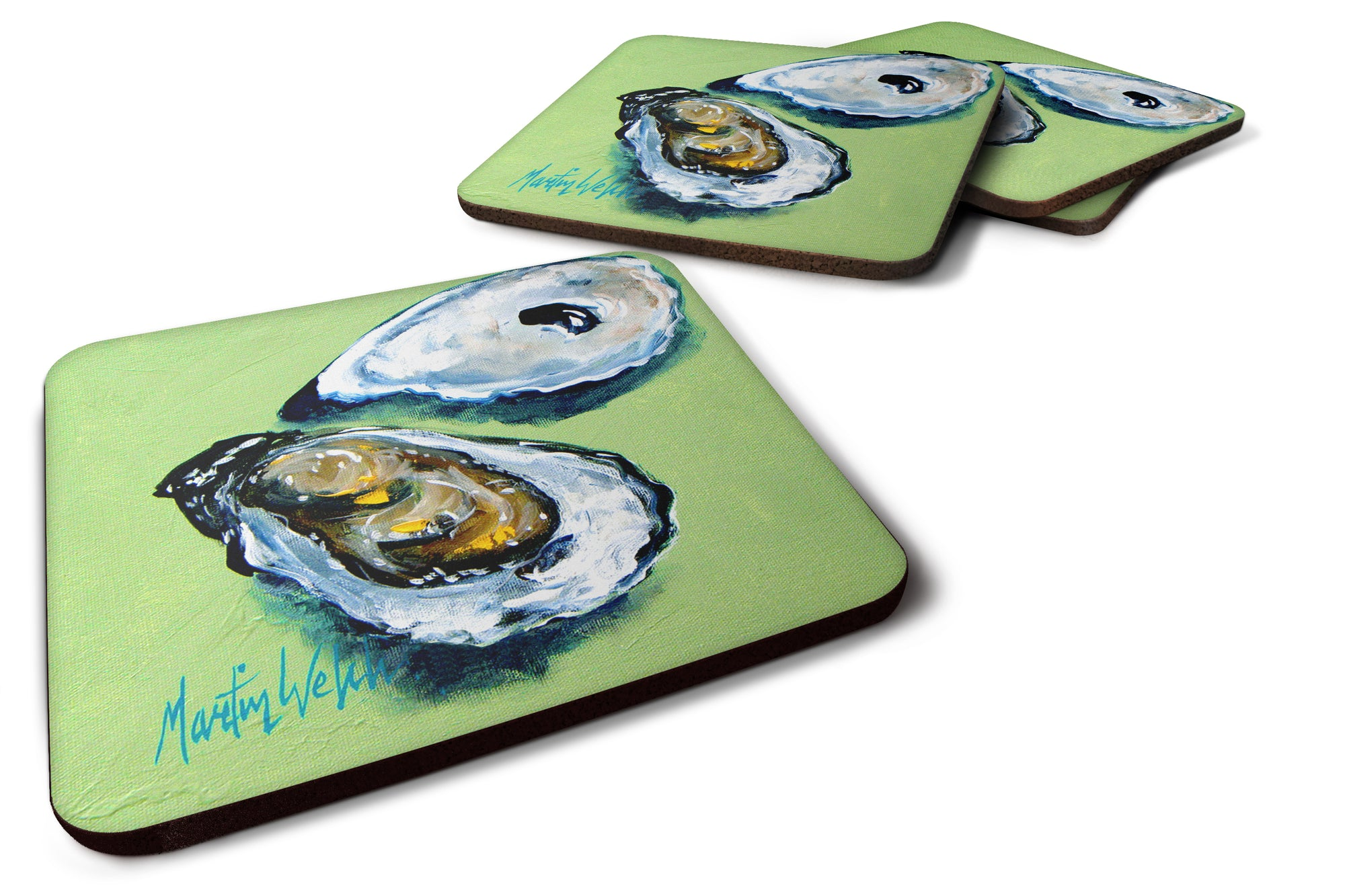 Two Shells Oyster Foam Coaster Set of 4 MW1361FC by Caroline's Treasures