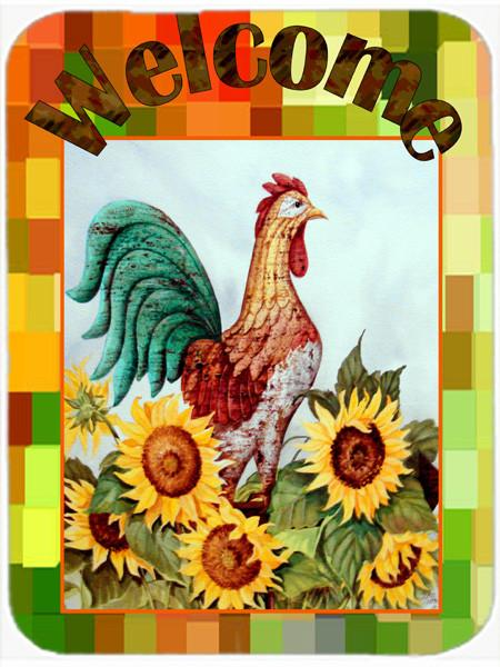 Welcome Rooster Glass Cutting Board Large PJC1056LCB by Caroline's Treasures