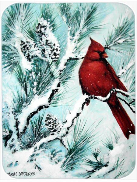 Winter's Glory Redbird 1 Northern Cardinal Glass Cutting Board Large PJC1057LCB by Caroline's Treasures