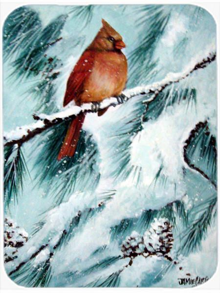Winter's Glory Redbird 2 Northern Cardinal Glass Cutting Board Large PJC1058LCB by Caroline's Treasures