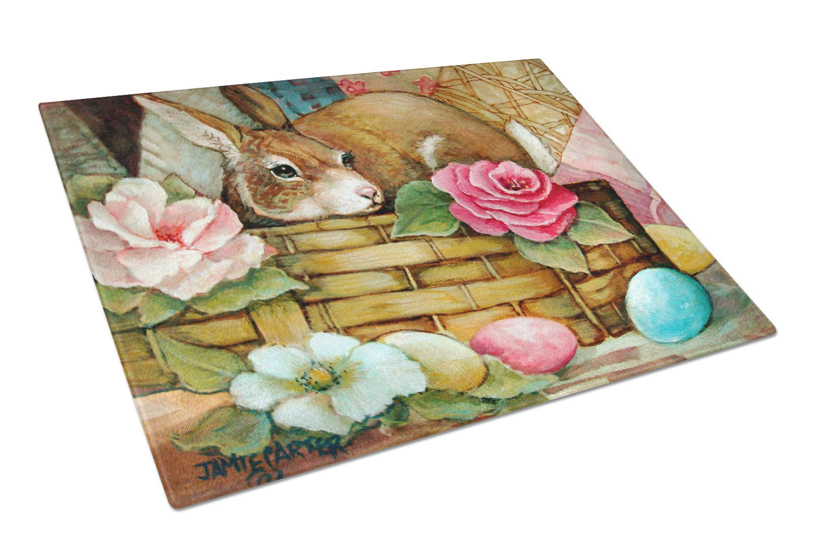A Touch of Color Rabbit Easter Glass Cutting Board Large PJC1063LCB by Caroline's Treasures