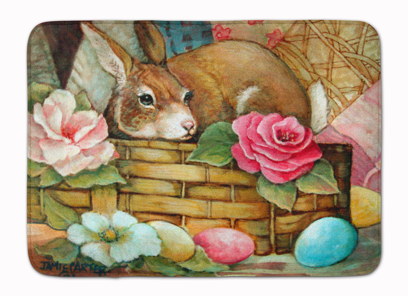 A Touch of Color Rabbit Easter Machine Washable Memory Foam Mat PJC1063RUG by Caroline's Treasures