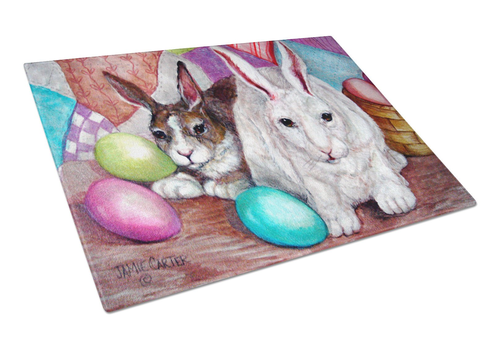 Buddy Buddies Easter Rabbit Glass Cutting Board Large PJC1064LCB by Caroline's Treasures