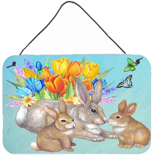 Bunny Family Easter Rabbit Wall or Door Hanging Prints by Caroline's Treasures