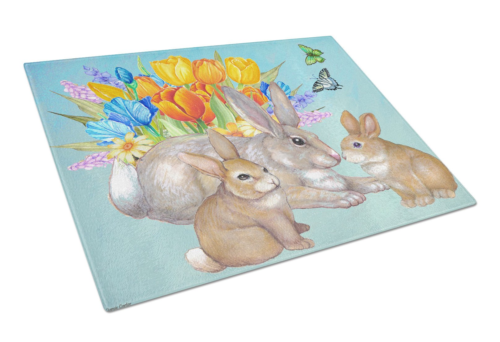 Bunny Family Easter Rabbit Glass Cutting Board Large PJC1065LCB by Caroline's Treasures