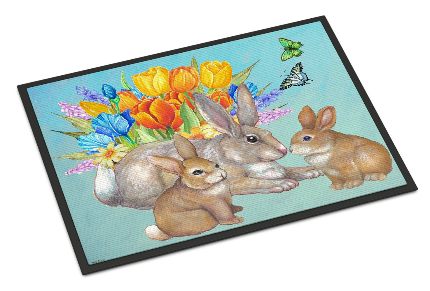 Bunny Family Easter Rabbit Indoor or Outdoor Mat 18x27 PJC1065MAT - the-store.com
