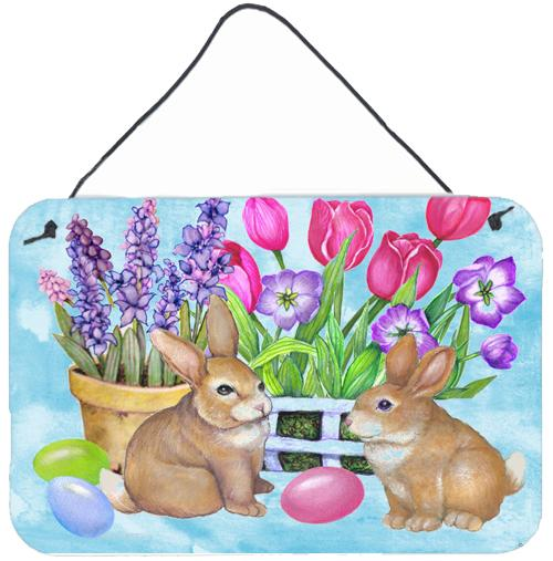 New Beginnings Easter Rabbit Wall or Door Hanging Prints PJC1066DS812 by Caroline's Treasures