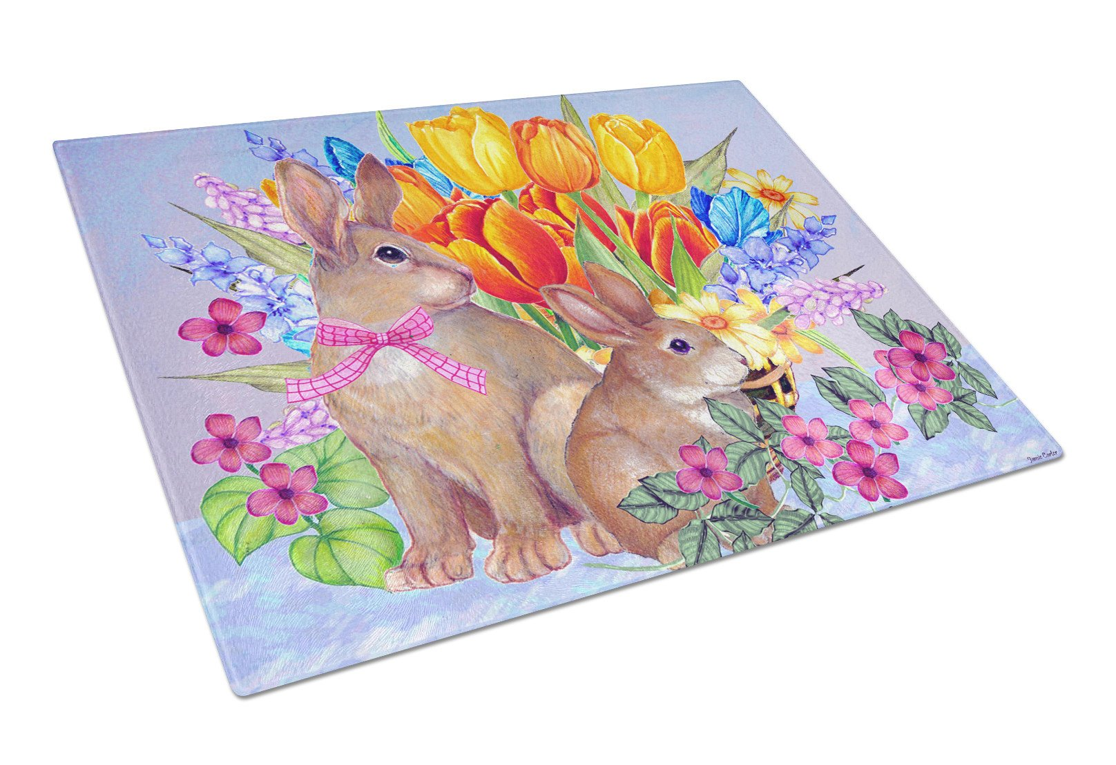 New Beginnings II Easter Rabbit Glass Cutting Board Large PJC1067LCB by Caroline's Treasures