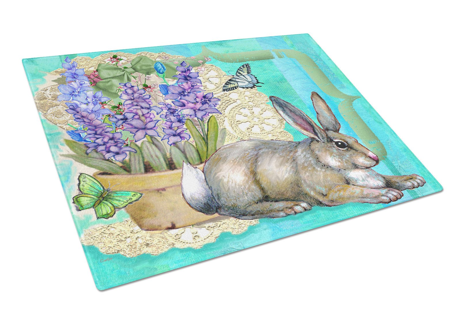 Springtime Easter Rabbit Glass Cutting Board Large PJC1068LCB by Caroline's Treasures
