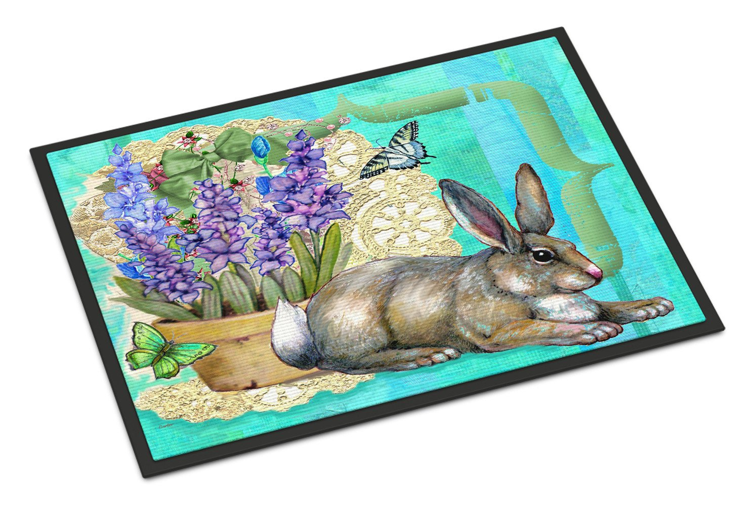 Springtime Easter Rabbit Indoor or Outdoor Mat 18x27 PJC1068MAT - the-store.com