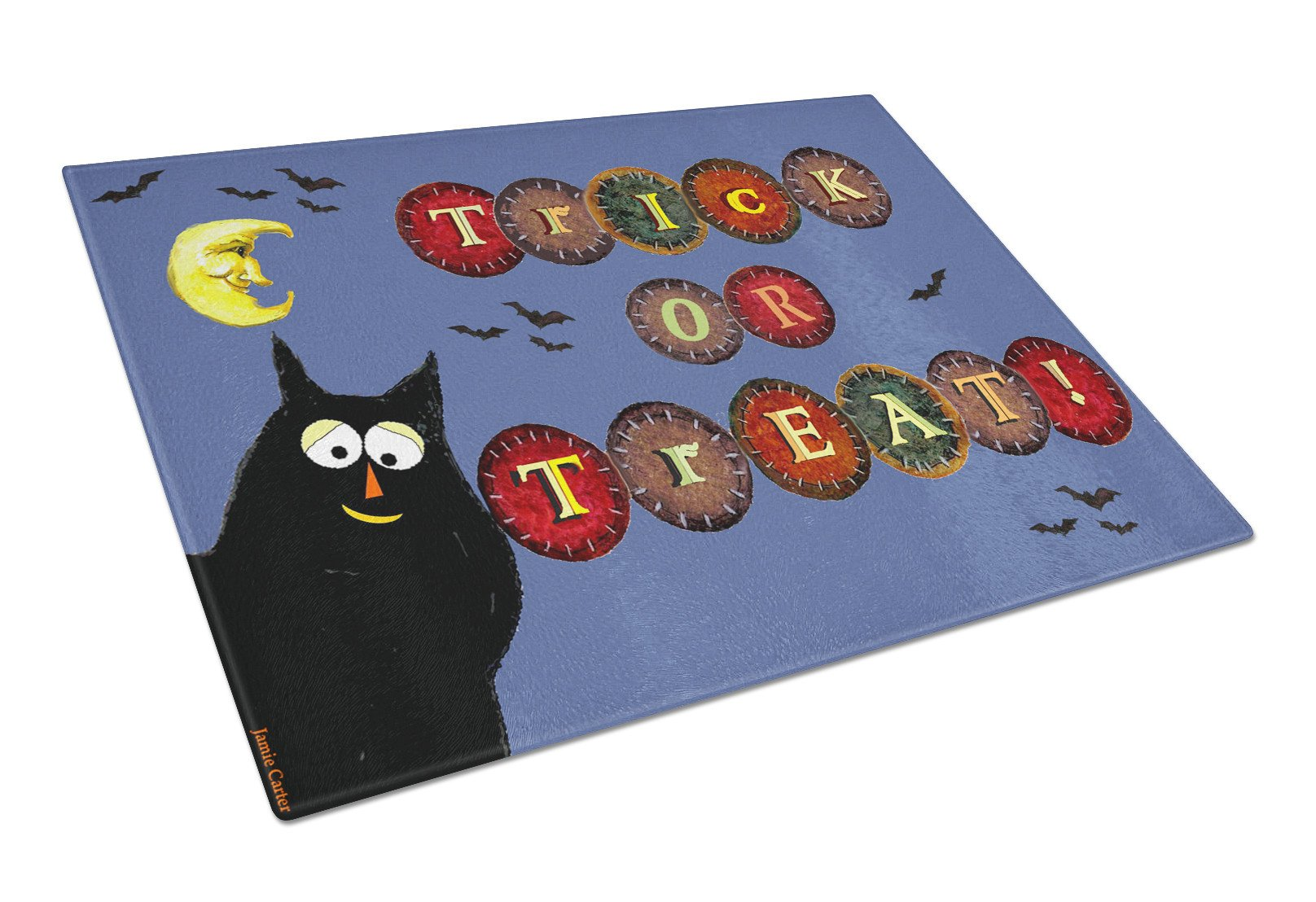 Trick or Treat Kitty Halloween Glass Cutting Board Large PJC1073LCB by Caroline's Treasures