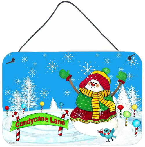 Candy Cane Lane Snowman Wall or Door Hanging Prints PJC1075DS812 by Caroline's Treasures