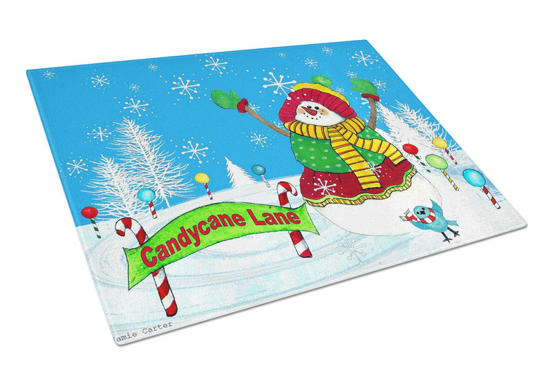 Candy Cane Lane Snowman Glass Cutting Board Large PJC1075LCB by Caroline's Treasures