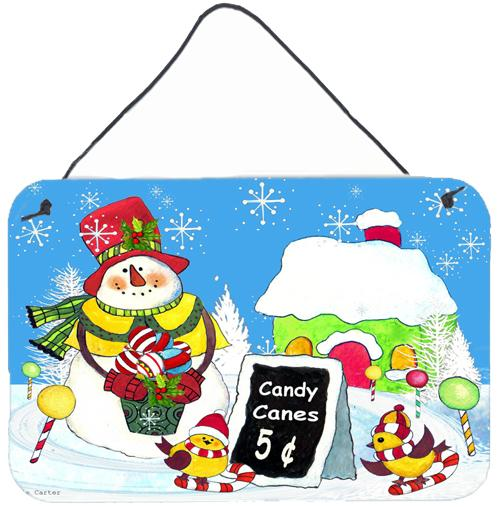 Candy Canes for Sale Snowman Wall or Door Hanging Prints PJC1076DS812 by Caroline's Treasures