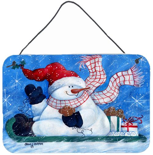 Come Ride With Me Snowman Wall or Door Hanging Prints PJC1078DS812 by Caroline's Treasures