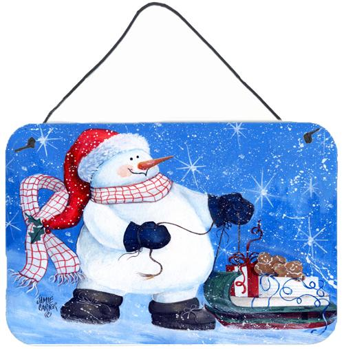 My Friends Can Ride Too Snowman Wall or Door Hanging Prints PJC1081DS812 by Caroline's Treasures