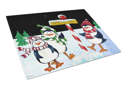 Buy this North Pole Welcomes You Penguins Glass Cutting Board Large PJC1082LCB