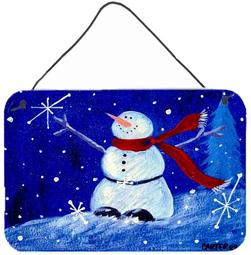 Happy Holidays Snowman Wall or Door Hanging Prints PJC1085DS812 by Caroline's Treasures