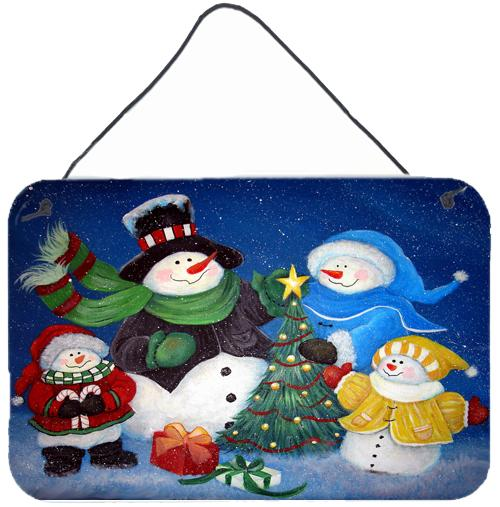 The Family Gathering Snowman Wall or Door Hanging Prints PJC1086DS812 by Caroline's Treasures