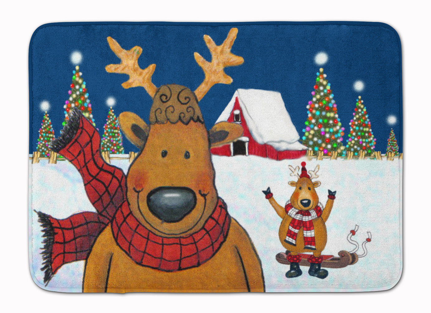 The Tree Famers Reindeer Christmas Machine Washable Memory Foam Mat PJC1088RUG by Caroline's Treasures