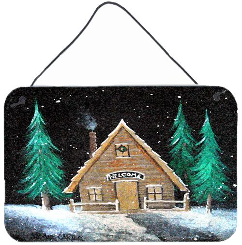 Welcome Lodge Christmas Log Home Wall or Door Hanging Prints by Caroline's Treasures