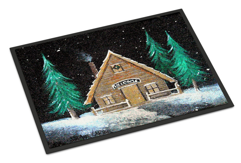 Welcome Lodge Christmas Log Home Indoor or Outdoor Mat 18x27 PJC1090MAT by Caroline's Treasures