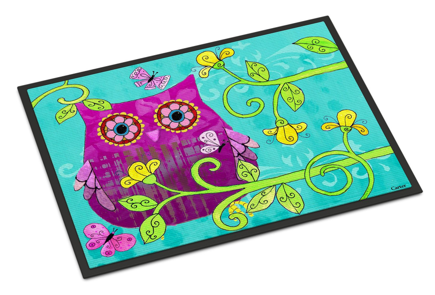 Sittin in the Flowers Owl Indoor or Outdoor Mat 18x27 PJC1093MAT by Caroline's Treasures