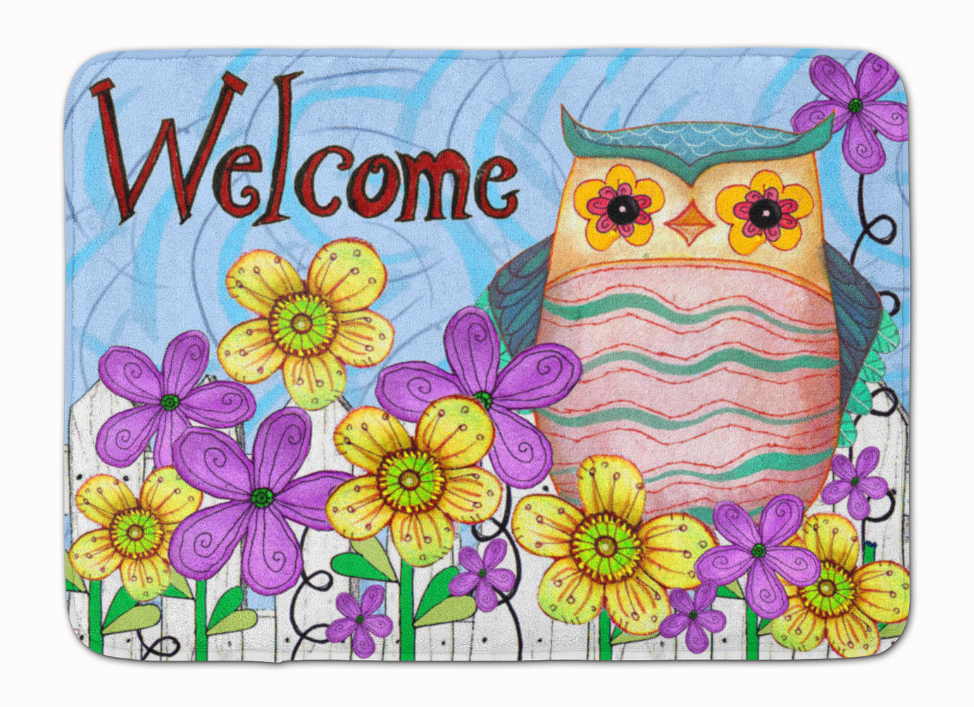 Welcome Owl Machine Washable Memory Foam Mat PJC1095RUG by Caroline's Treasures