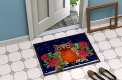 Whose Happy Holidays Owl Indoor or Outdoor Mat 24x36 PJC1097JMAT