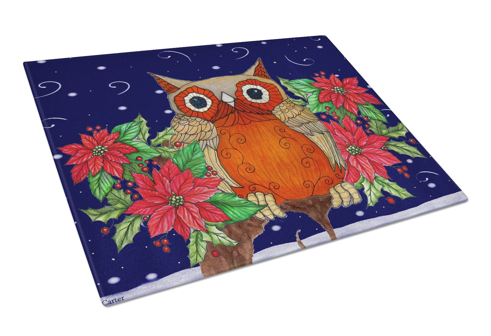 Buy this Whose Happy Holidays Owl Glass Cutting Board Large PJC1097LCB