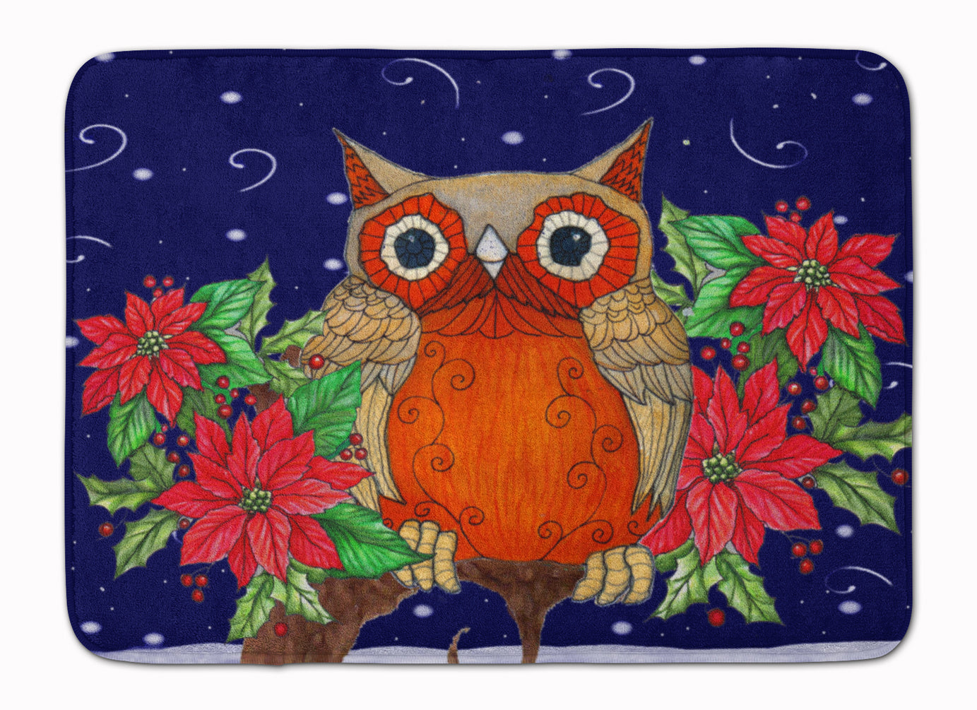 Whose Happy Holidays Owl Machine Washable Memory Foam Mat PJC1097RUG by Caroline's Treasures
