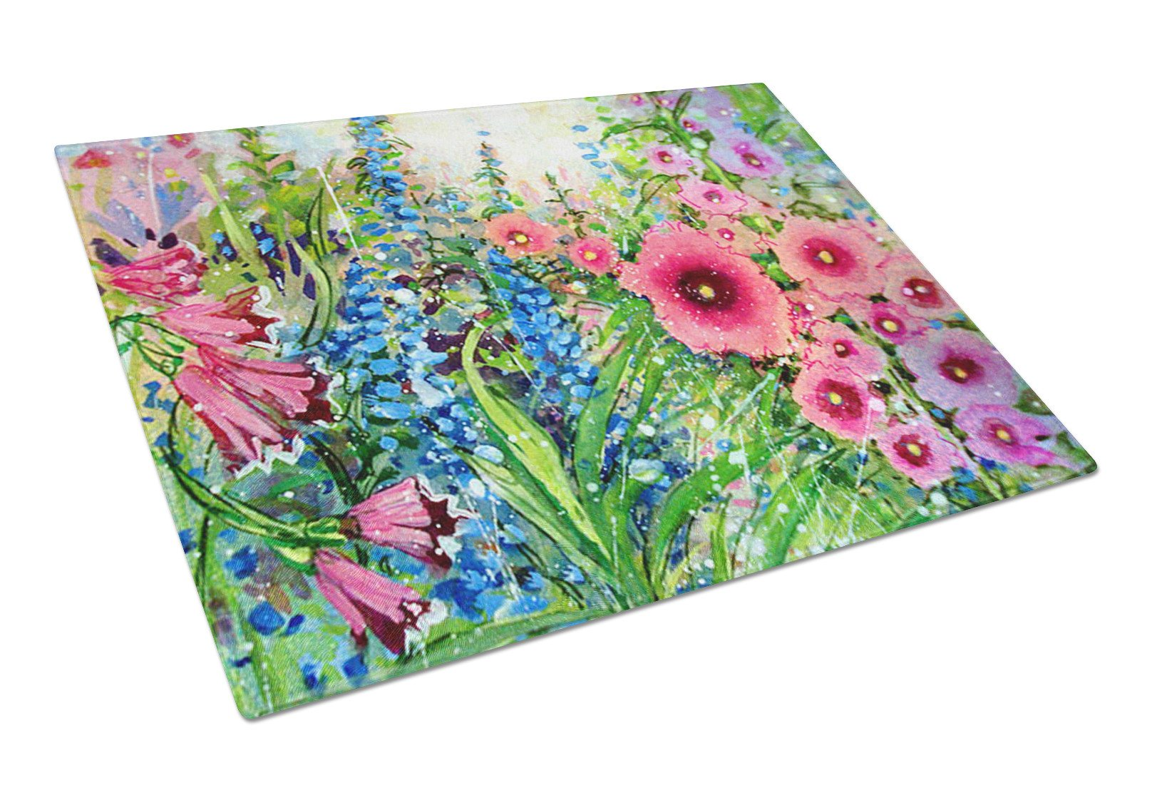 Easter Garden Springtime Flowers Glass Cutting Board Large PJC1107LCB by Caroline's Treasures