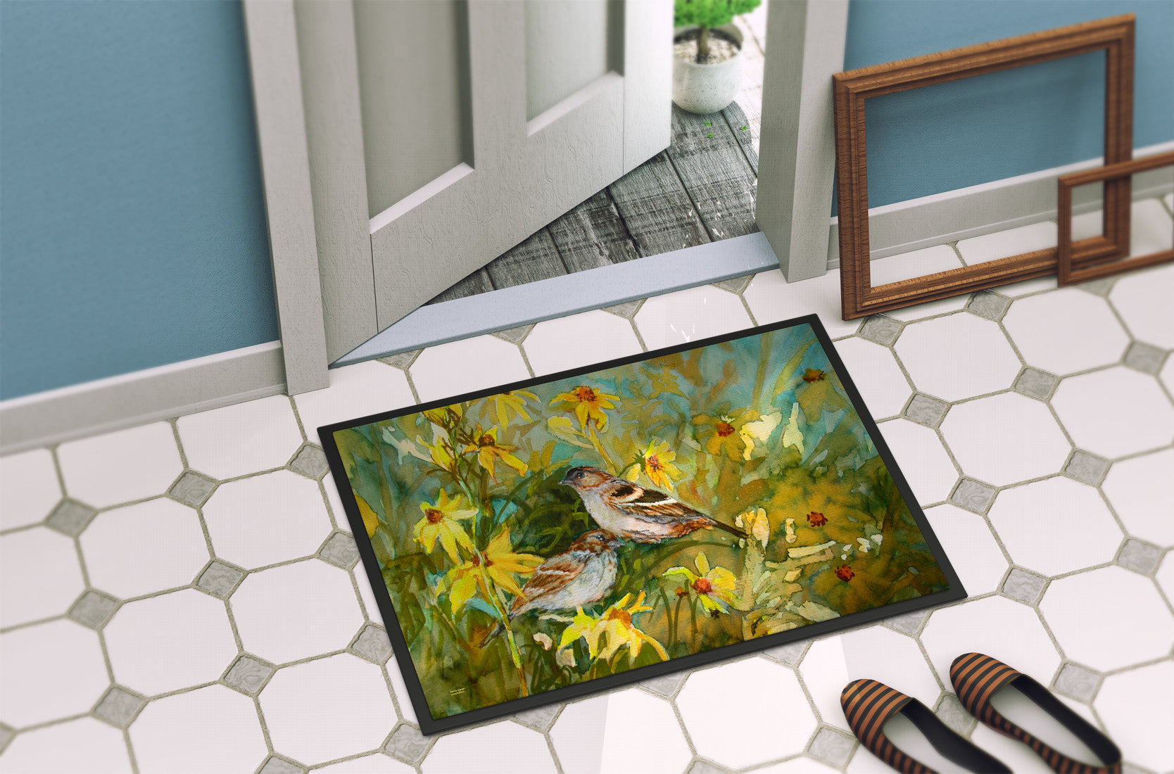 Sparrows in the Field Indoor or Outdoor Mat 24x36 PJC1111JMAT by Caroline's Treasures