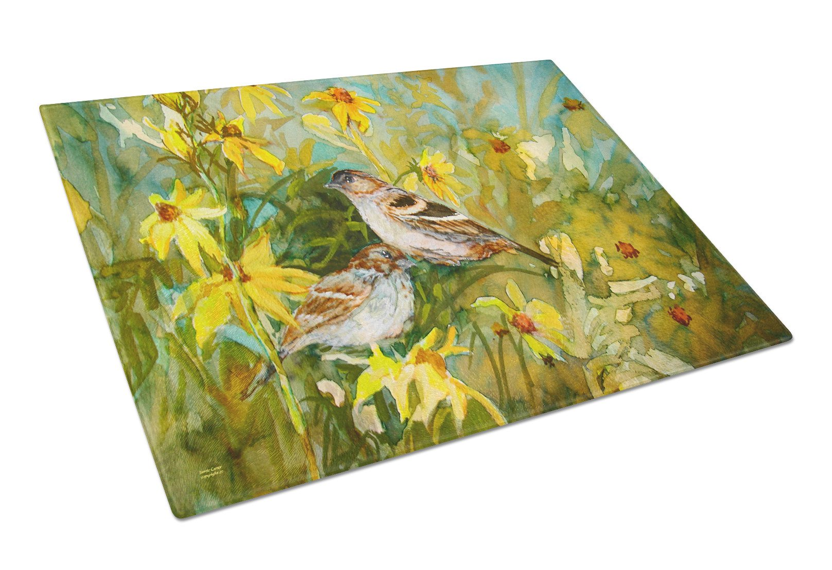 Sparrows in the Field Glass Cutting Board Large PJC1111LCB by Caroline's Treasures