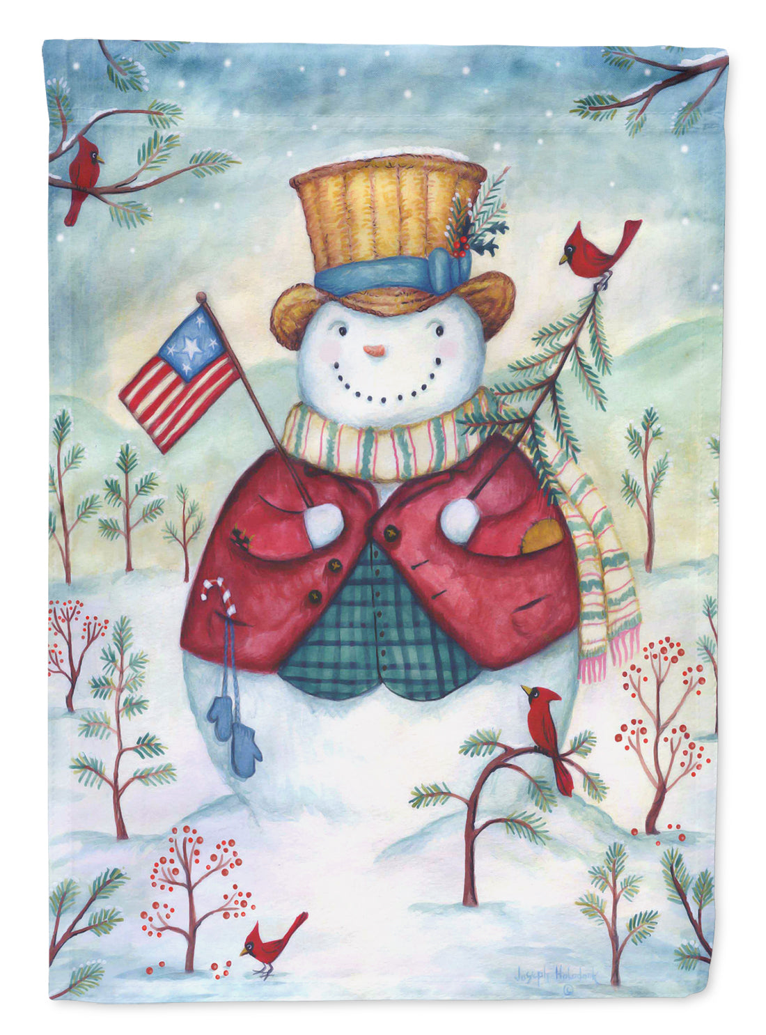 Snowman Just Keep Smilin' USA Flag Canvas House Size PJH3021CHF by Caroline's Treasures