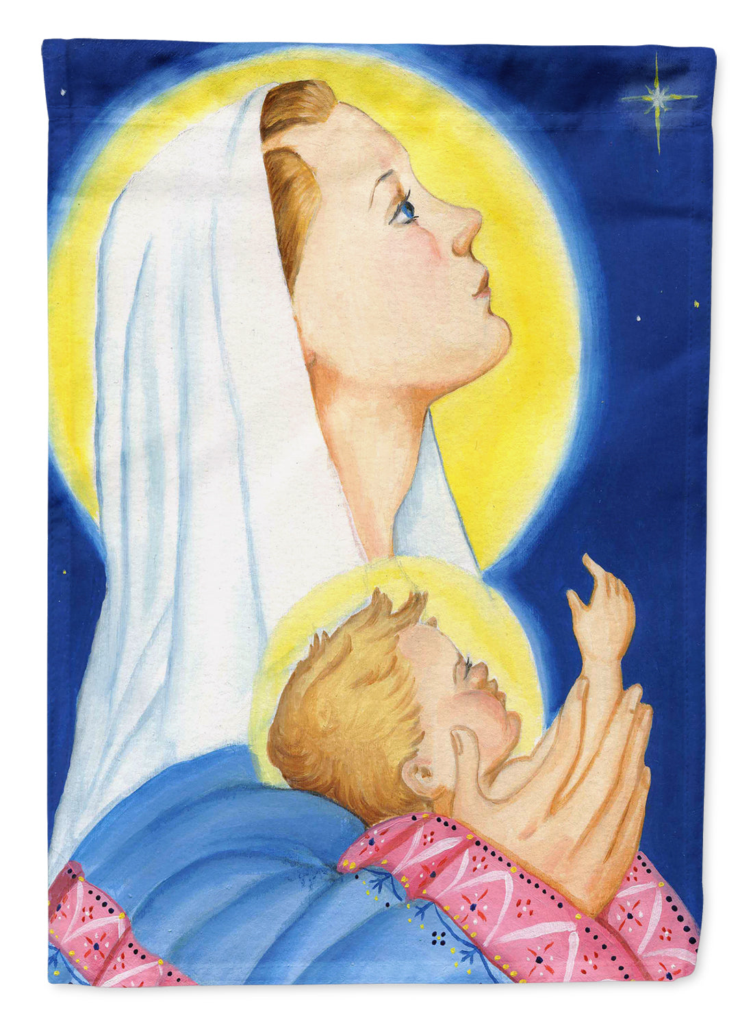 Jesus and Mary Star of Wonder Christmas Flag Canvas House Size PJH3025CHF by Caroline's Treasures