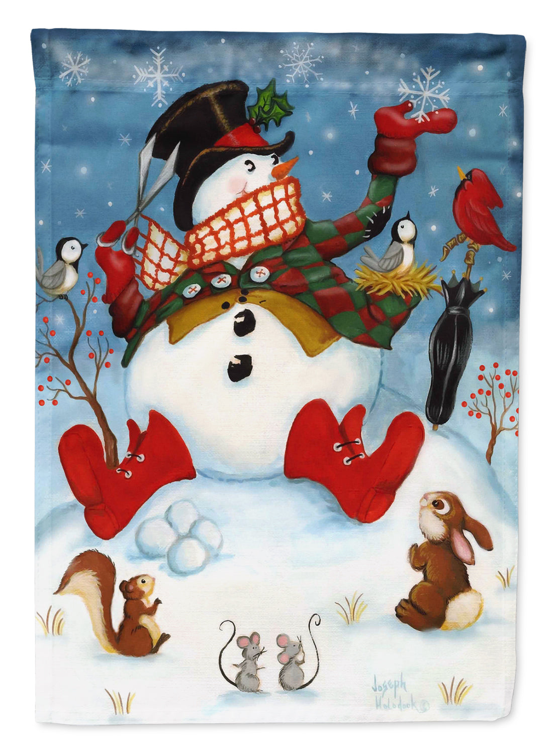 Snowman Snow Maker Flag Canvas House Size PJH3028CHF by Caroline's Treasures